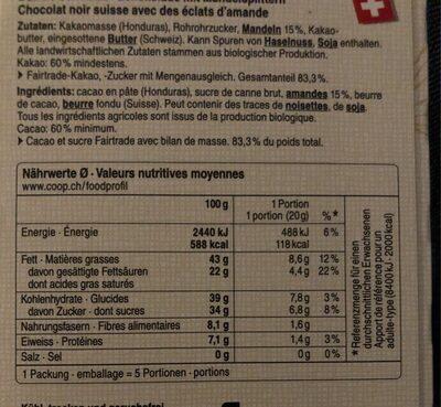 Chocolat noir aux amandes 60% cacao - Nutrition facts - fr