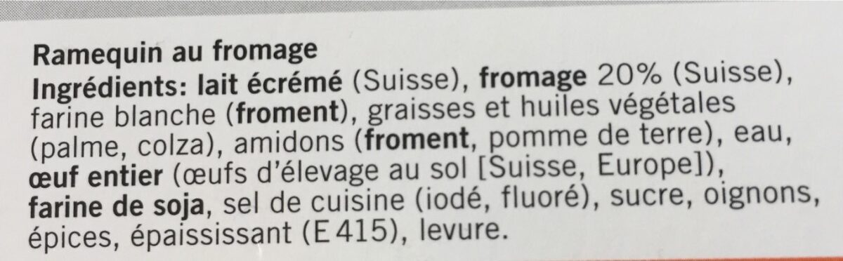 6 ramequins au fromage Quick and Tasty - Ingrédients - fr