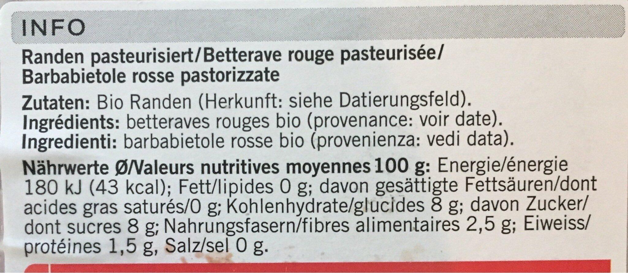 Dés de racines rouges - Informations nutritionnelles - fr