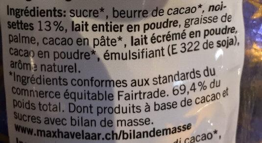 Praliné Lait Fourrées - Ingredients - fr