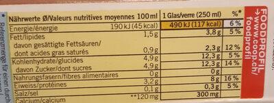 Boisson sans Lactose - Informazioni nutrizionali - fr
