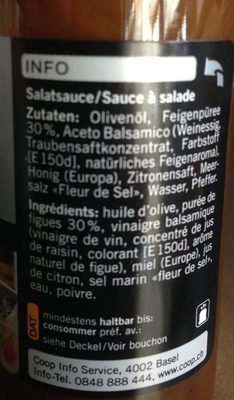 BALSAMICO-FEIGEN DRESSING - Informations nutritionnelles