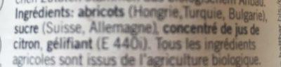 Confiture d'Abricot Bio - Ingredientes - fr