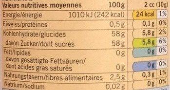 Confiture Framboises Bio - Voedingswaarden - fr