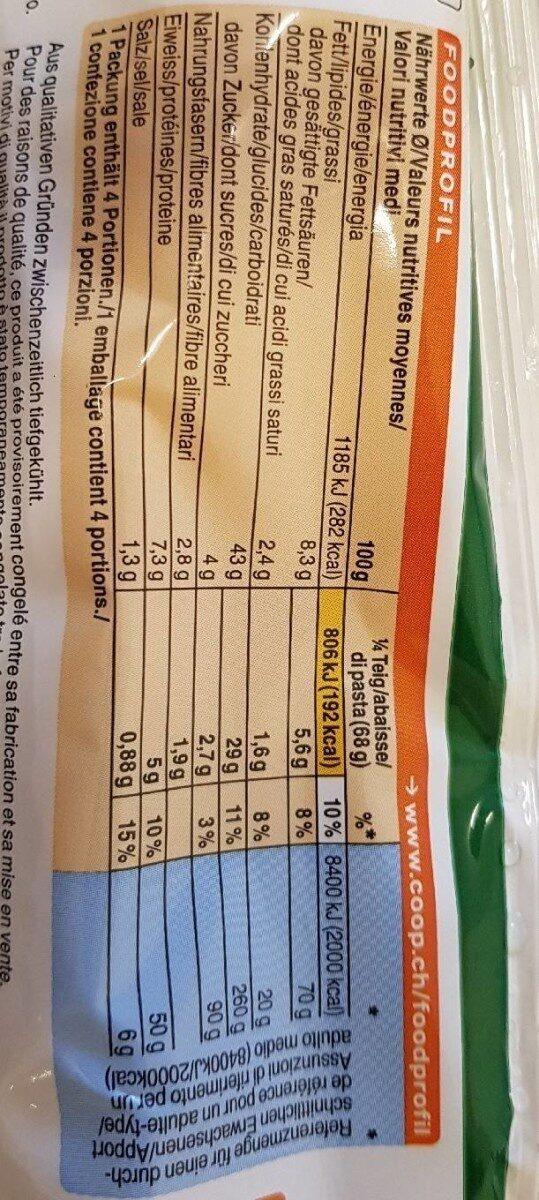 Pâte à pizza Rustico - Informations nutritionnelles - fr