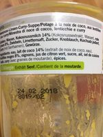 Suppe, Kokos Linsen Curry - Ingrediënten - fr