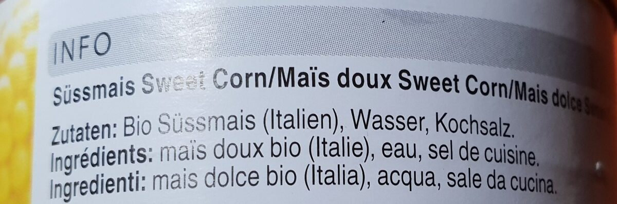 Sweat corn - Ingredients