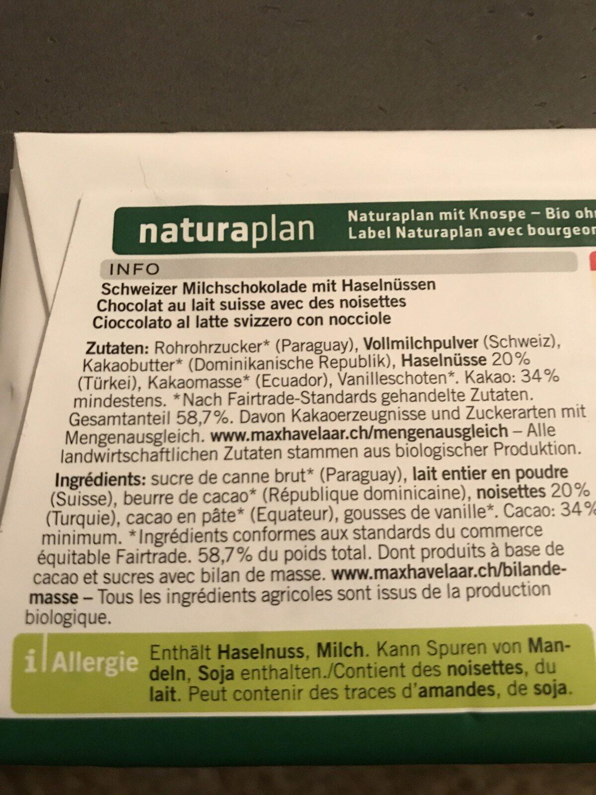 Coop Naturaplan Max Havelaar Bio Milch nuss - Ingredients