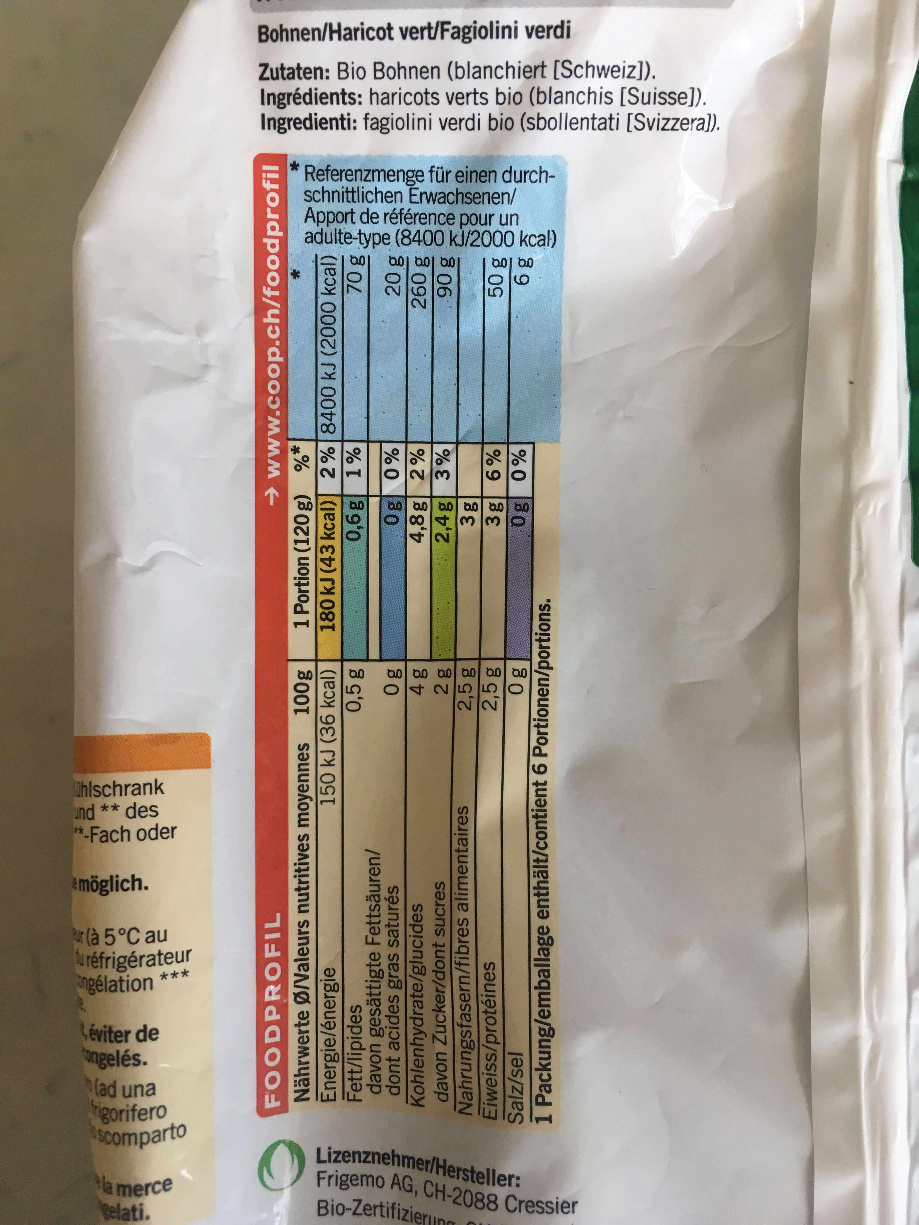 Haricots verts fins - Nutrition facts - fr