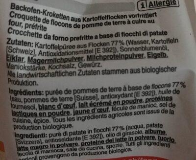 Croquettes au four - Ingredients