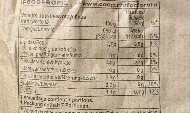 Pain d'épeautre bio - Valori nutrizionali - fr