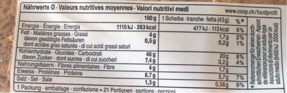 Toast dunkel - Nutrition facts - fr