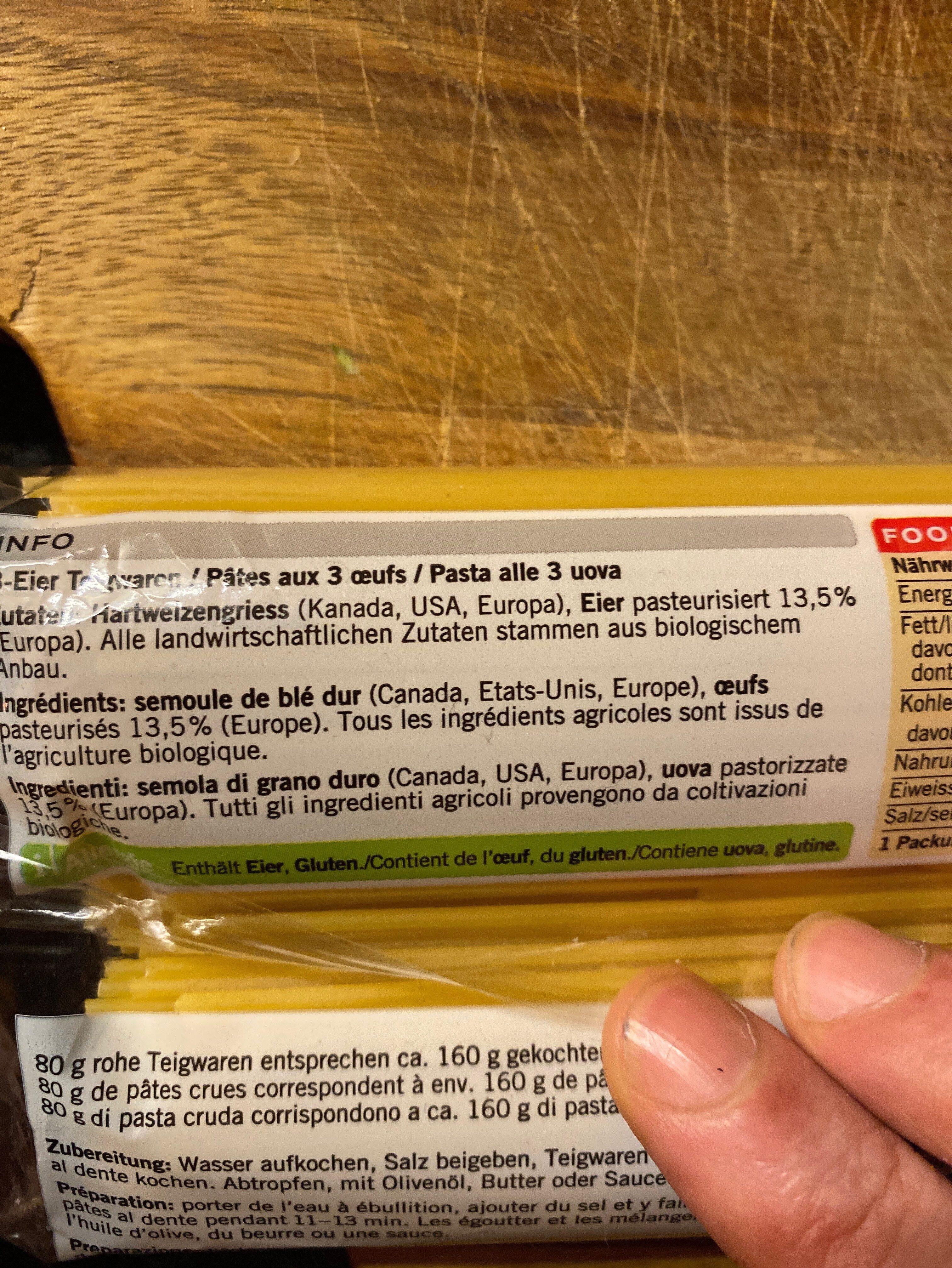 Spaghetti bio - Ingrediënten - fr