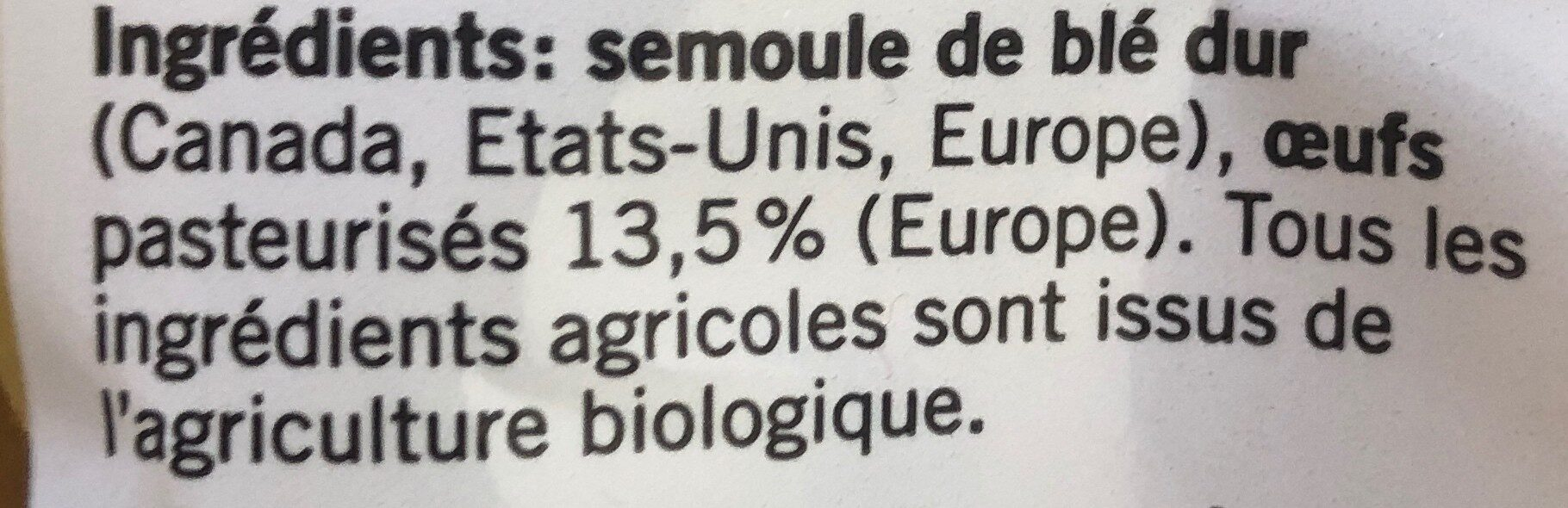 Nouilles - Ingredients