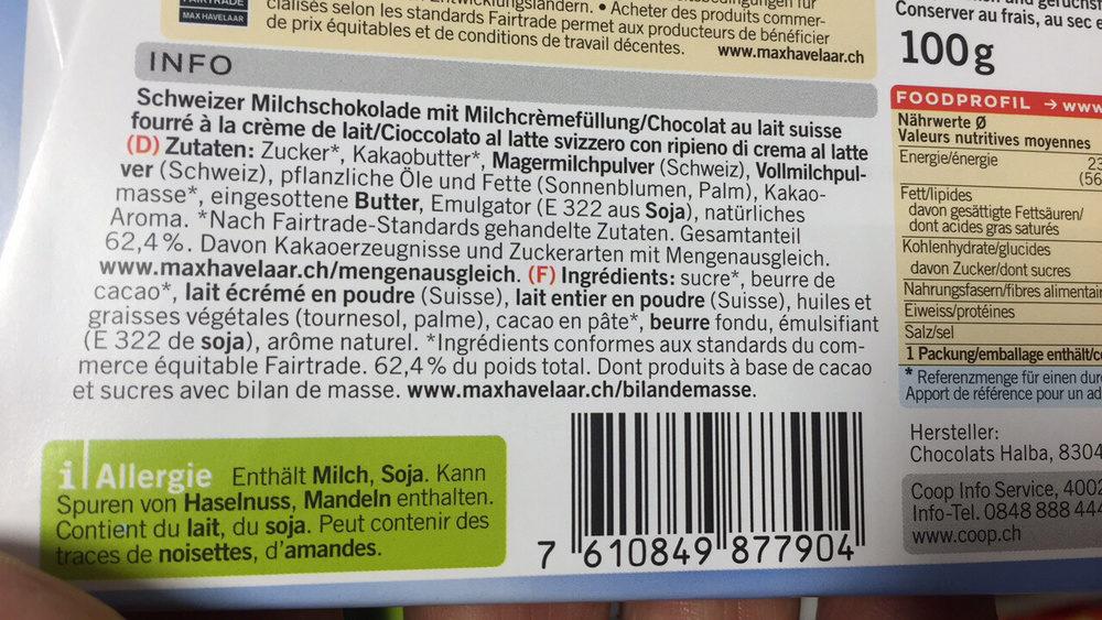 Chocolat au lait suisse fourré à la crème de lait - Ingrédients - fr