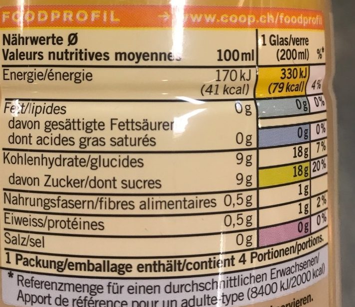 Jus d'Orange 100 % Fruit - Voedingswaarden - fr