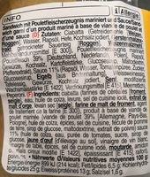 Sandwich poulet - Ingrediënten - fr