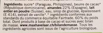Amande au chocolat blanc - Ingrédients