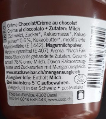 Crème Chocolat - Ingrédients