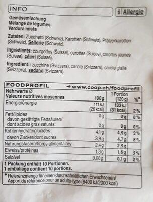 Mélange de légumes suisse - Informazioni nutrizionali - fr