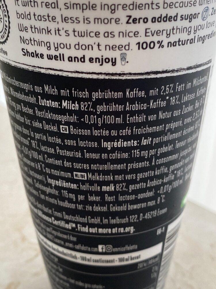 Cafe Latte Double Zero - Ingredients - de