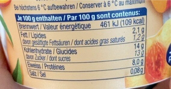 YoQua Pêche - Nutrition facts - fr