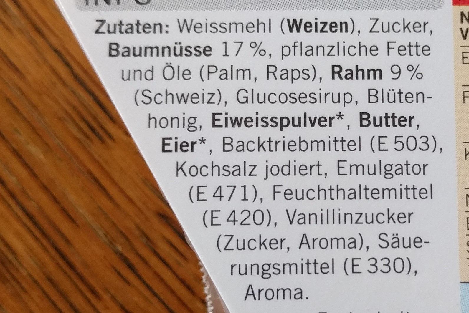 Coop Bündner Nusstorte - Ingredients