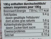 Bio Panna Cotta Framboise - Valori nutrizionali - de