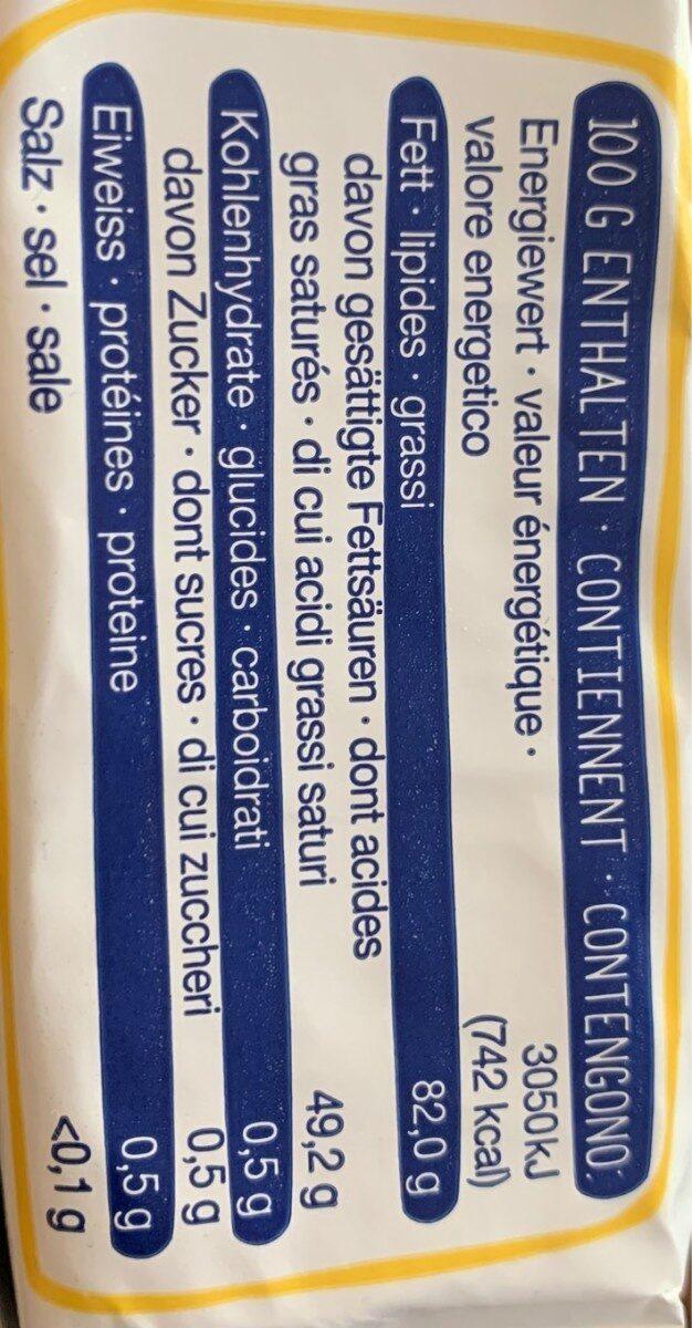 Butter Beurre Burro - Informations nutritionnelles - fr