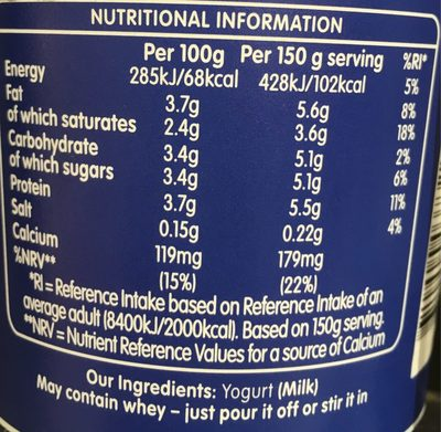 Natural Set - Nutrition facts