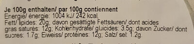 Fromage - Nutrition facts - en