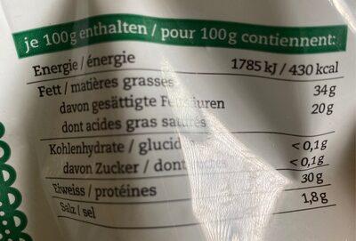 Fromage râpé - Nutrition facts - fr