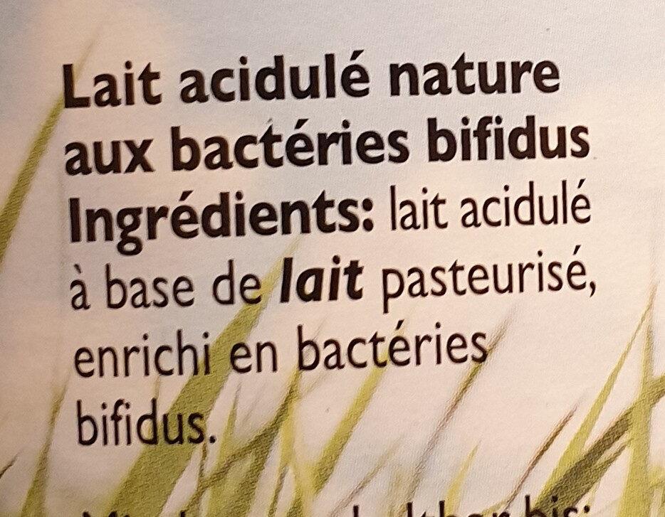 Bifidus lait acidulé nature - Ingrédients - fr