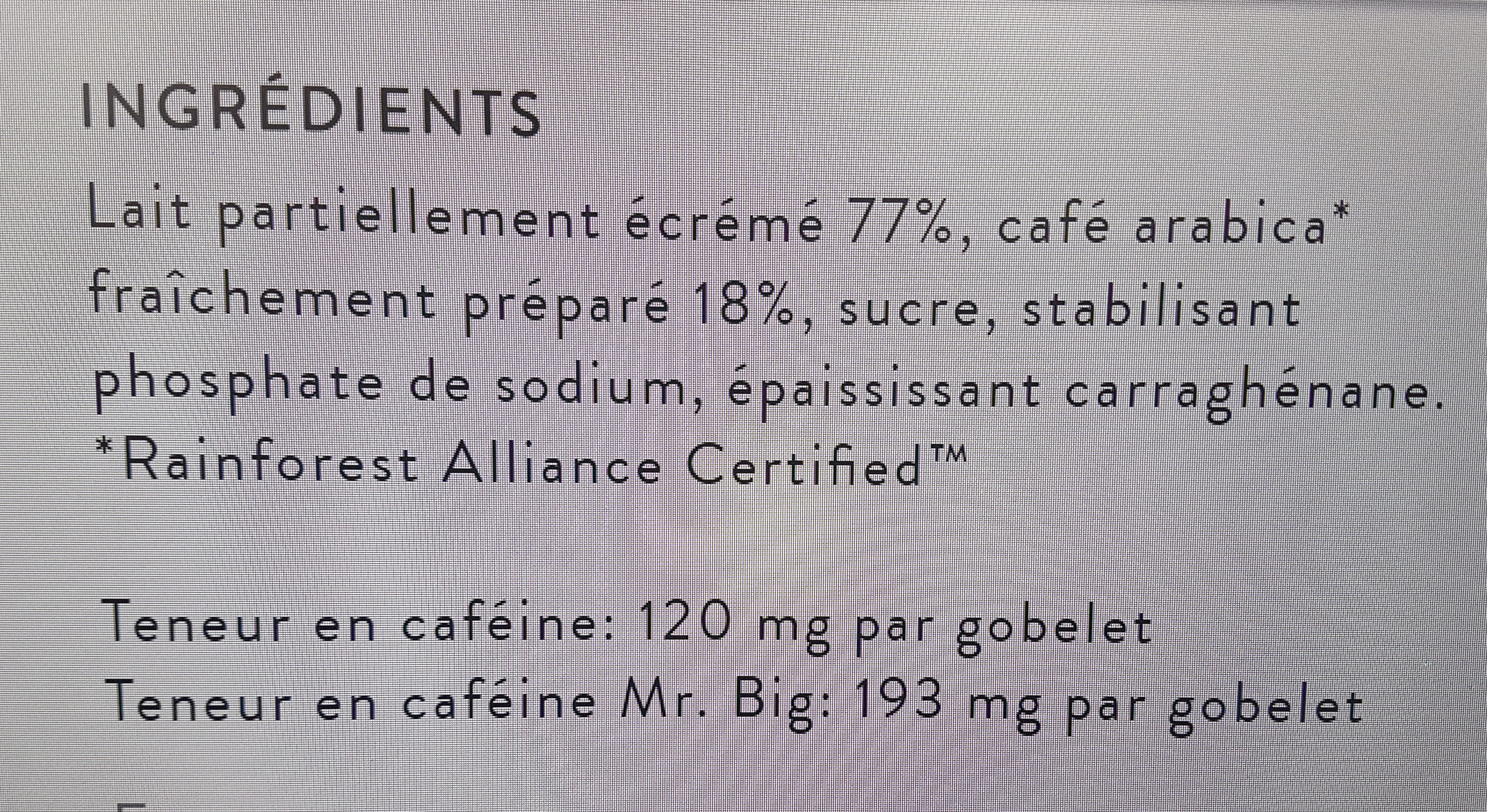 Caffè Latte Espresso - Ingredienti - fr