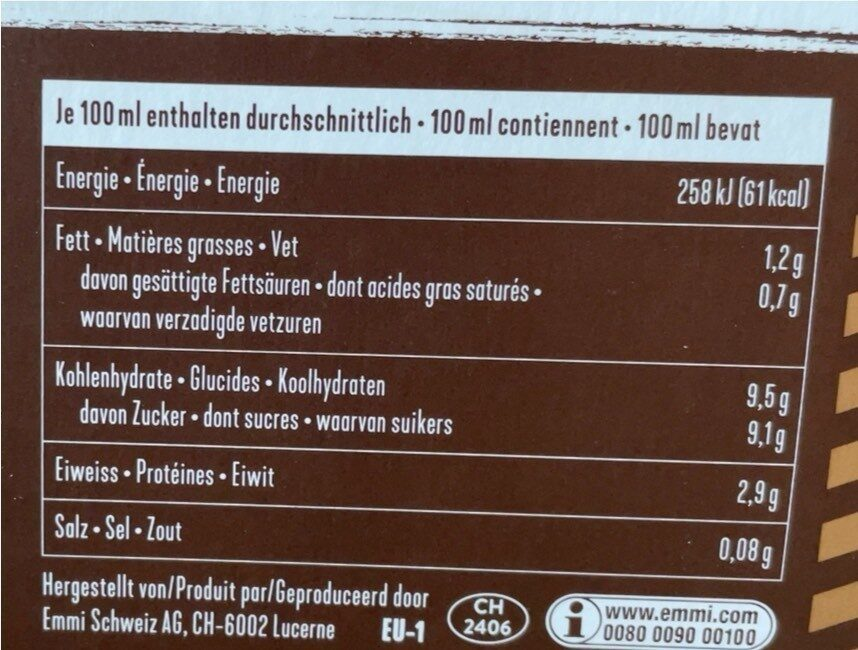 Caffè Latte Cappuccino - Nährwertangaben - de