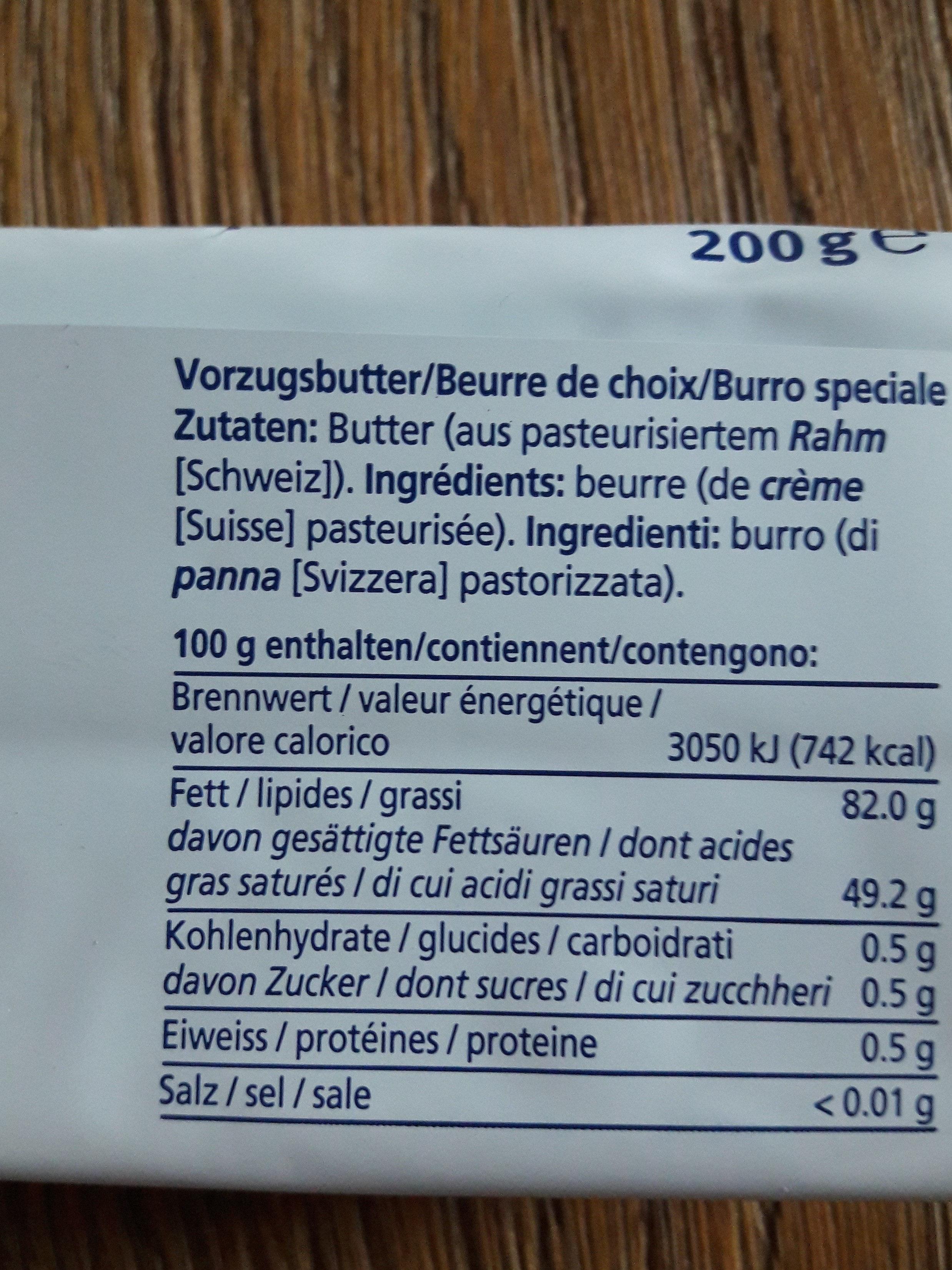 Beurre de choix - Ingrediënten - fr