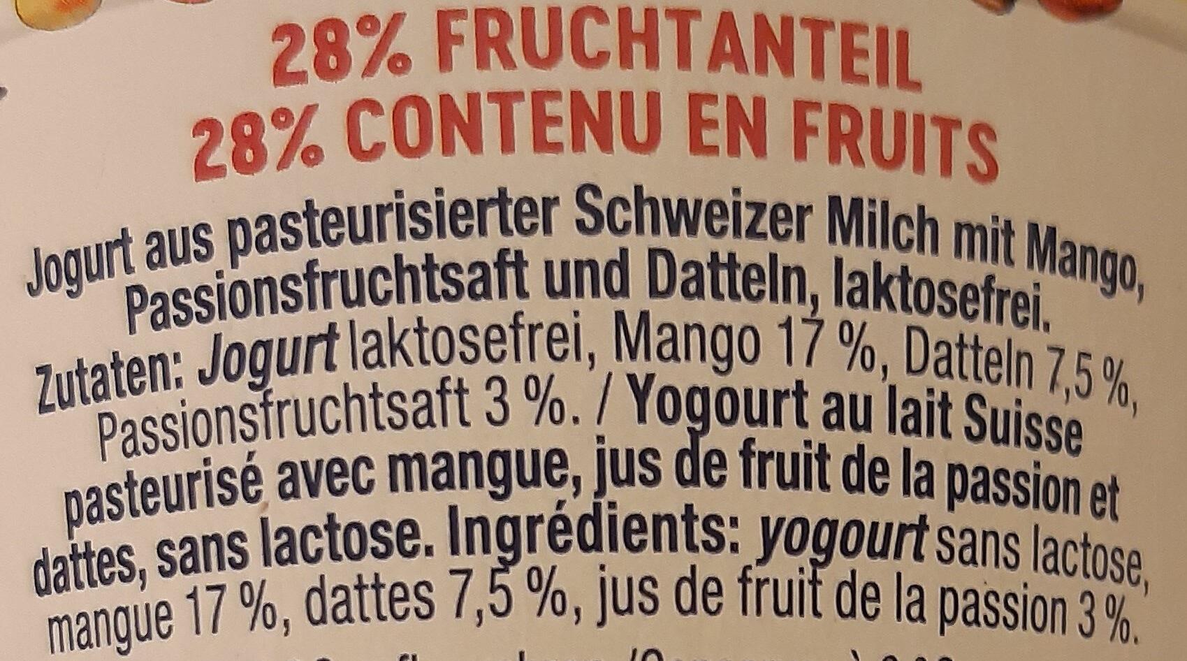 Jogurt Pur Mango-Passionsfrucht & Dattel - Ingredienti - fr