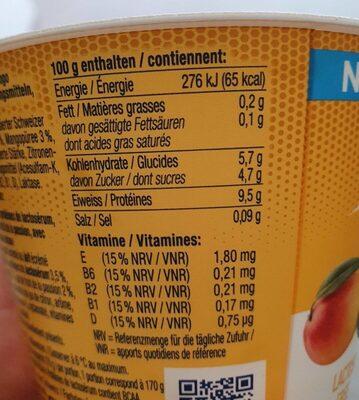 Whey Protein Yogurt Mango Passionfruit - Nutrition facts - fr