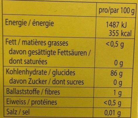 Maizena - Nutrition facts