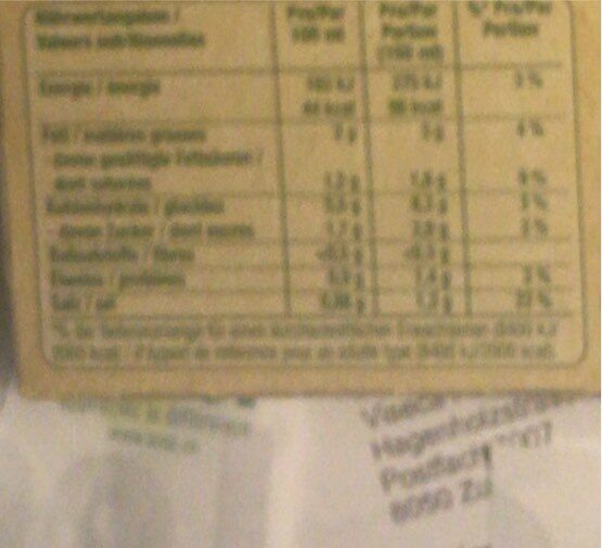 Quick soup, légumes - Voedingswaarden - fr