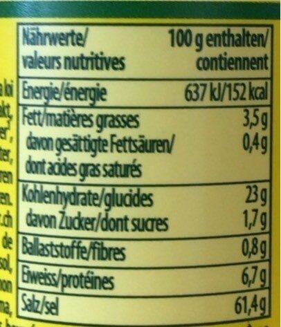 "Aromat ""naturellement sans"" Glutamate ajouté - Valori nutrizionali - fr"