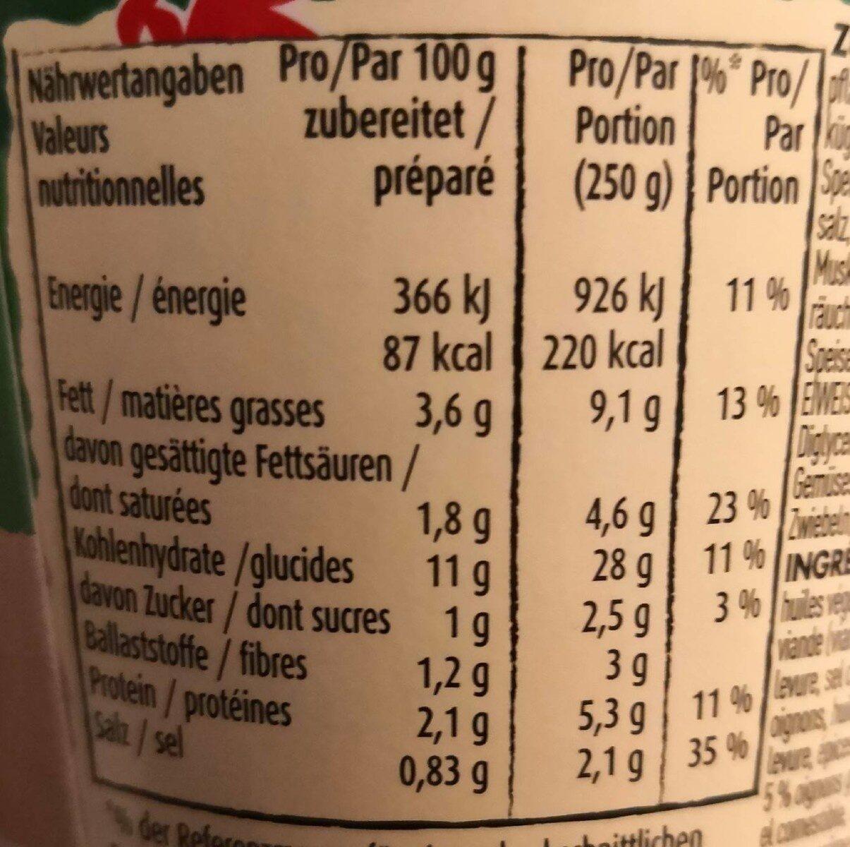Stocki Snack - Informazioni nutrizionali - fr
