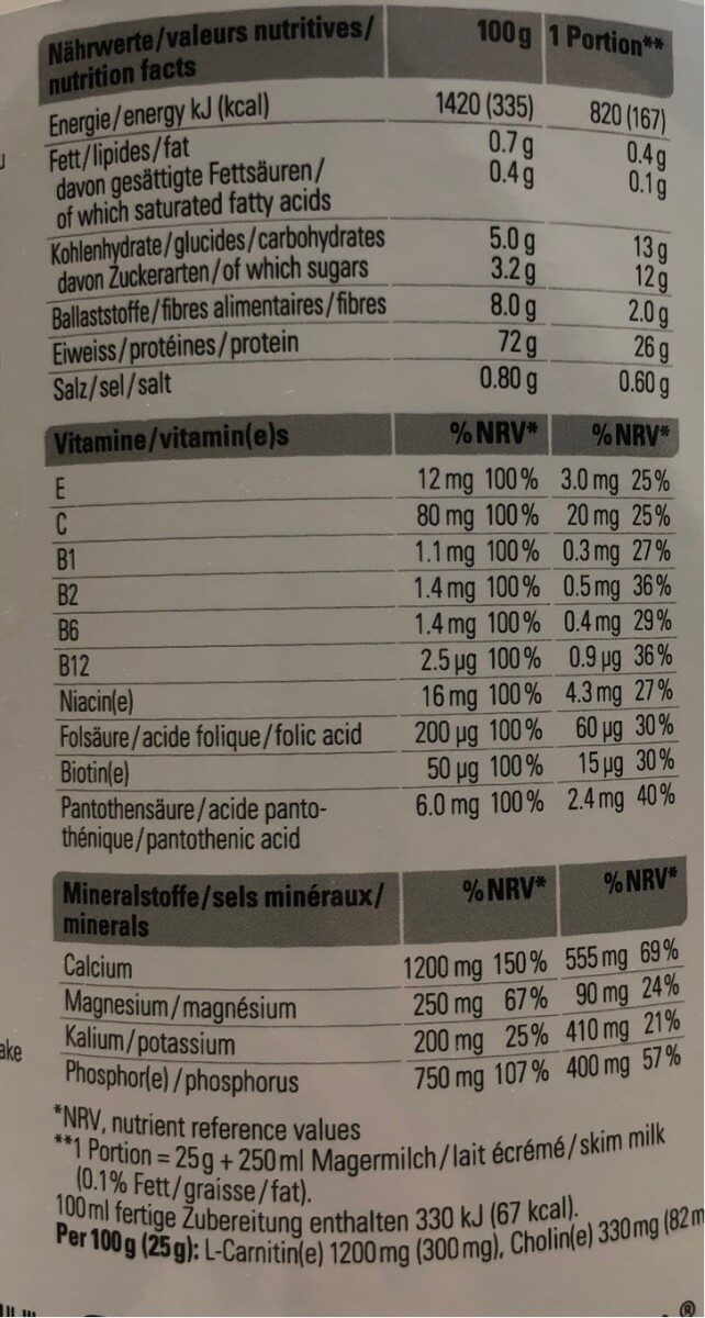 Low carb protein shake vanille - Nutrition facts - fr