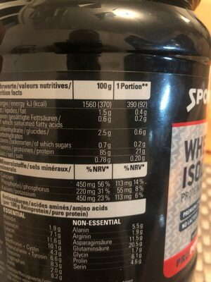 Whey isolate 94 - Nutrition facts - fr