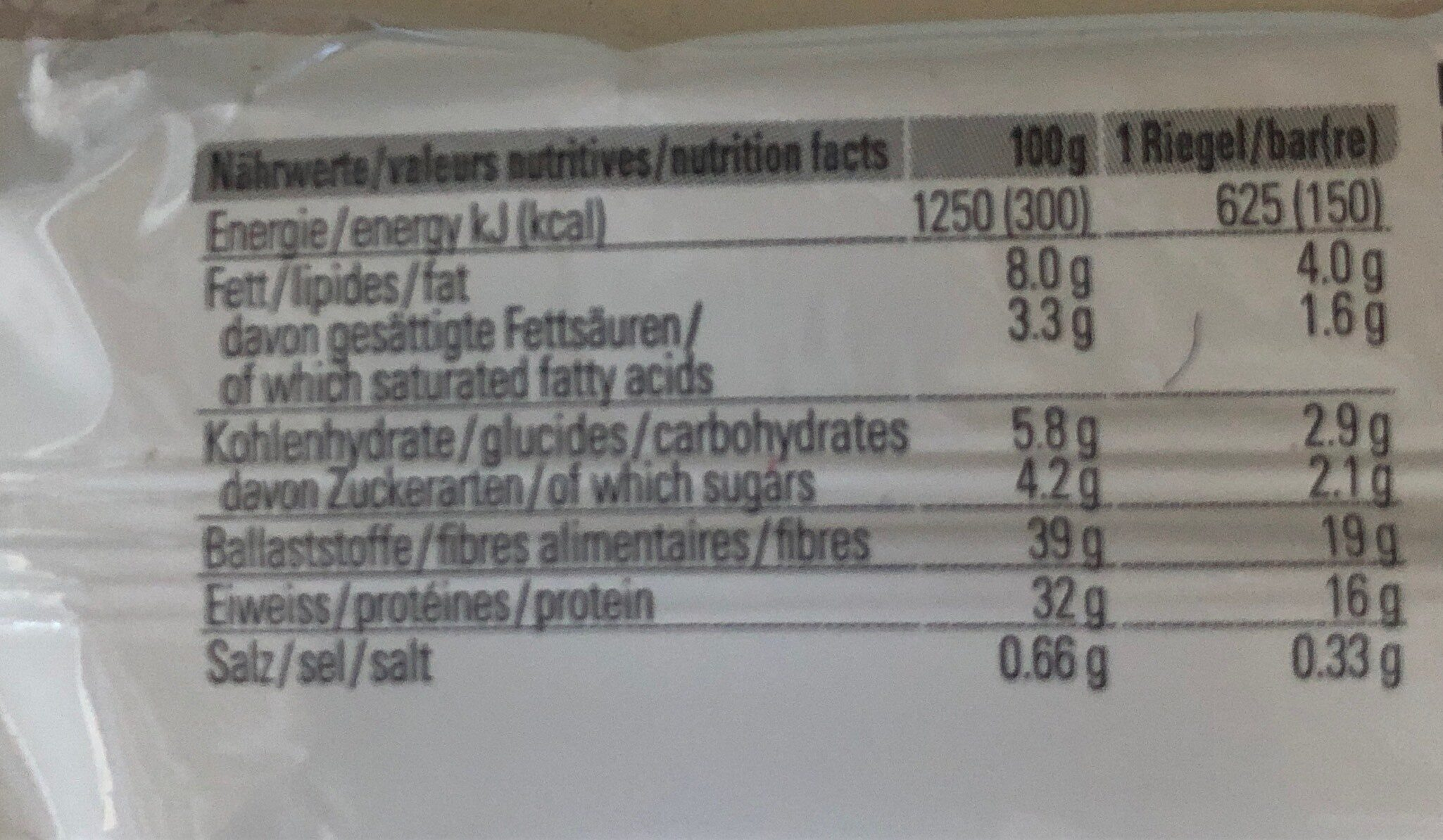 Sponser protein low carb - Nutrition facts - fr