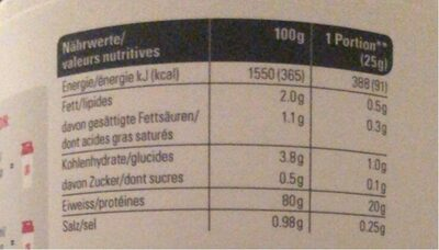 Whey isolate 94 - Nutrition facts