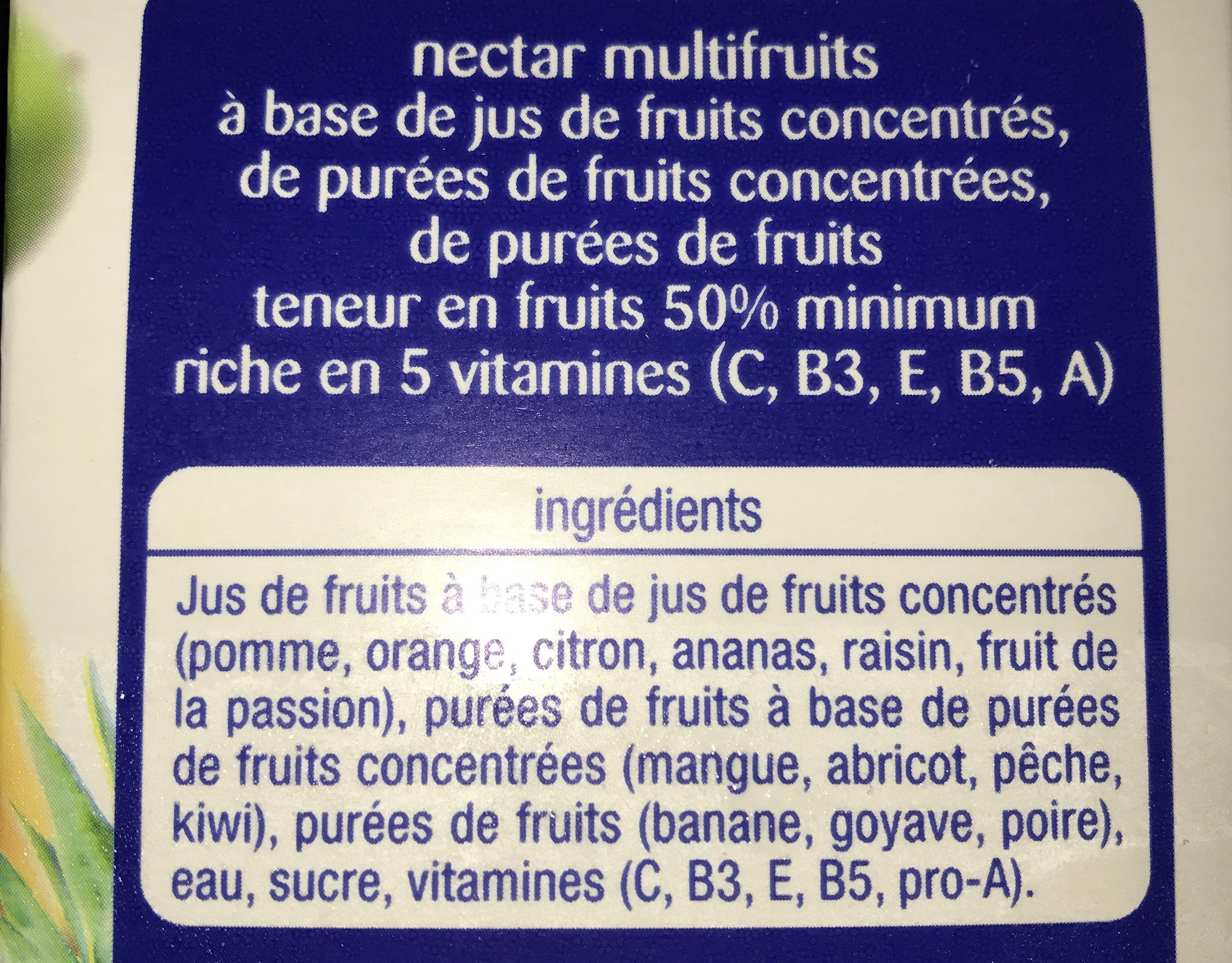 Multi Vitaminé Nectar Gourmand - Ingrédients