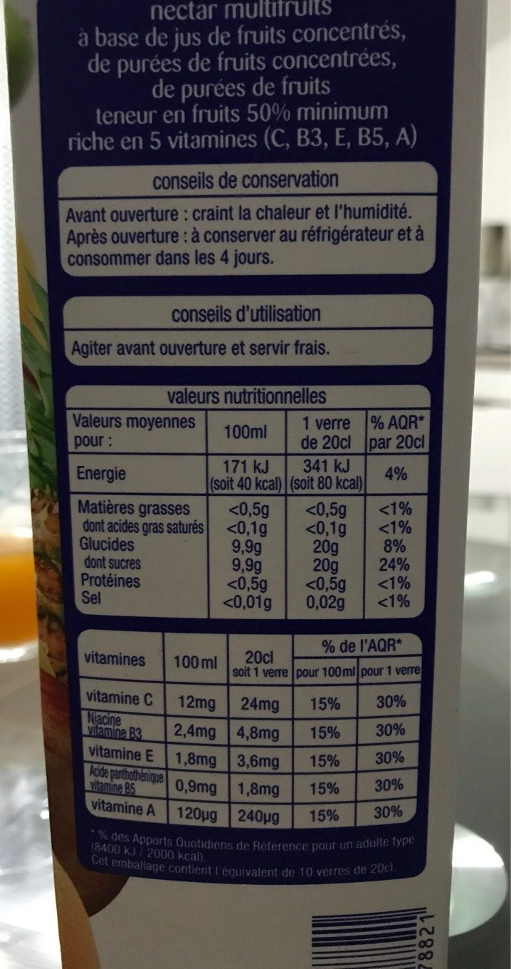 Multi Vitaminé Nectar Gourmand - Informations nutritionnelles