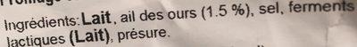 Ail des Ours - Tomme vaudoise au lait pasteurisé - Ingrédients - fr