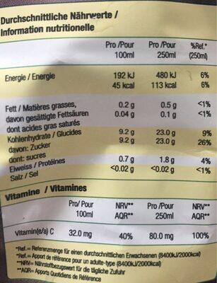 Pur jus d oranges - Valori nutrizionali - fr